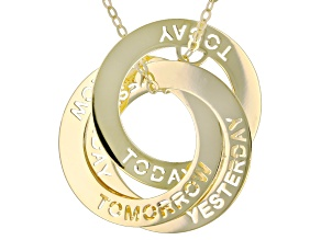 """10K Yellow Gold Diamond-Cut """"Yesterday, Today, and Tomorrow"""" Intertwined Circle Necklace"""