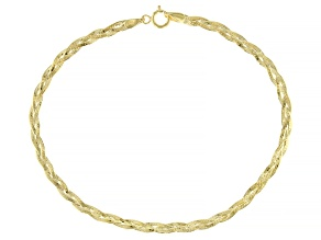 10K Yellow Gold 2.6MM Hammered Braided Curb Link Bracelet