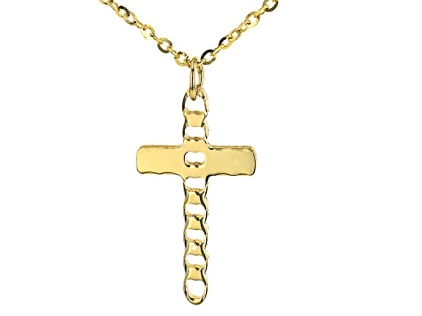 10K Yellow Gold Diamond-Cut Cross Flat Rolo and Curb Station Necklace