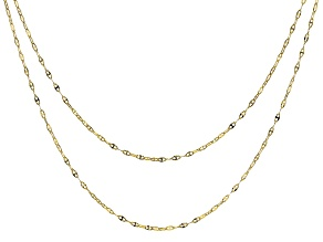 10K Yellow Gold Set of 2 1.6MM Puffed Mariner Chains