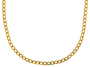 10k Yellow Gold Hollow Curb Chain Necklace 18 inch