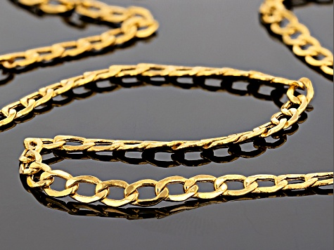 10k Yellow Gold Hollow Curb Chain Necklace 20 inch