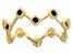 10K Yellow Gold  Black Enamel Crown Band Ring