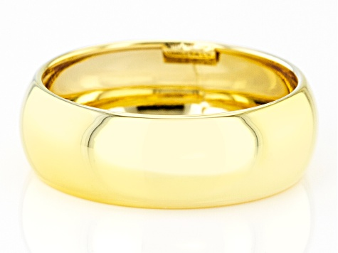 10K Yellow Gold 6.6MM High Polished Domed Mirror Band Ring