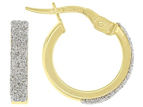 10K Yellow Gold Brillante 3x10MM Square Tube Hoop Earrings