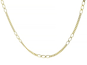 14K Yellow Gold Curb and Oval Station Link Fashion Chain