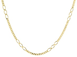 14K Yellow Gold Curb and Oval Station Link 2.9MM Fashion Chain