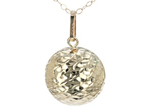 10K Yellow Gold Textured Bead Pendant with Cable Chain