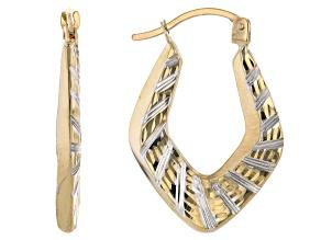 10K Yellow Gold Chevron Textured Tube Hoop Earrings