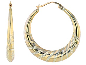 10K Yellow Gold 4.5MM-1.5MMx30MM Graduated Textured Tube Hoop Earrings
