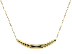 10K Yellow Gold Curve Bar Reversible Adjustable Necklace