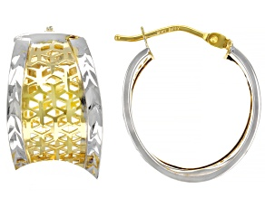 14K Yellow Gold and Rhodium Over 14K Yellow Gold Diamond-Cut Squared Tube Hoop Earrings