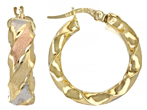 14K Yellow Gold, 14K Rose Gold and Rhodium Over 14K Yellow Gold Satin 6x21MM Tube Hoop Earrings