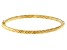 14K Yellow Gold 4MM Polished and Textured Hinged Bangle