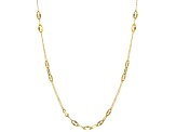 10k Yellow Gold Mirror Cable Station 18 inch Necklace