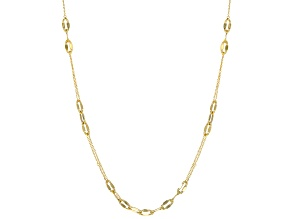10k Yellow Gold Mirror Cable Station 24 inch Necklace