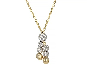 14K Yellow Gold and 14K White Gold Station Diamond-Cut Bead Adjustable Necklace