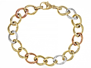 14K Yellow Gold, 14K Rose and 14K White Gold over 14K Yellow Gold 10MM Polished Curb Link Bracelet