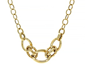 14K Yellow Gold Polished Graduated Curb Necklace