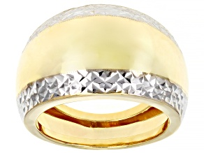 10K Yellow Gold and Rhodium Over 10K Yellow Gold 14.2MM Diamond-Cut High Polished Ring