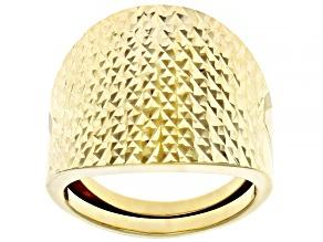 10K Yellow Gold 19.6MM Diamond-Cut Dome Ring