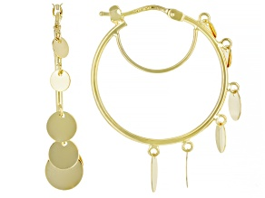 10K Yellow Gold Graduated Circle Tube Hoop Earrings
