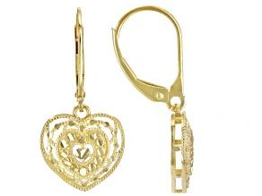 10K Yellow Gold Dangle Filigree Heart Earrings
