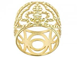 10K Yellow Gold 15.8MM Diamond-Cut Fleur-de-Lis Dome Band Ring