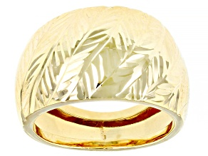 10K Yellow Gold 13.8MM Dome Textured Ring