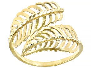 10K Yellow Gold Bypass Leaf Ring
