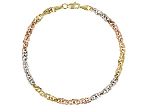 10K Yellow Gold, 10K White Gold, and 10K Rose Gold Over 10K Yellow Gold Double Cable Link Bracelet