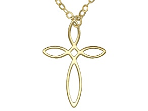 10k Yellow Gold Hollow Twisted Cross Necklace 18 inch