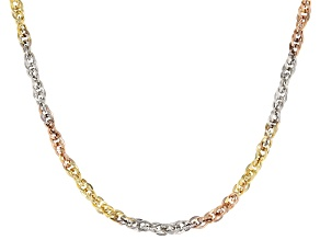 10K Yellow Gold, 10K White Gold, and 10K Rose Gold Over 10K Yellow Gold Double Cable Chain