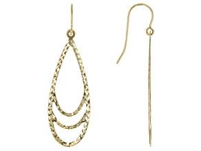 10K Yellow Gold Diamond-Cut 43MM Teardrop Dangle Earrings