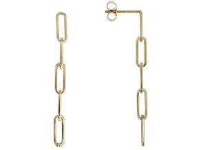 14K Yellow Gold 38.5MM Paperclip Link Dangle Earrings