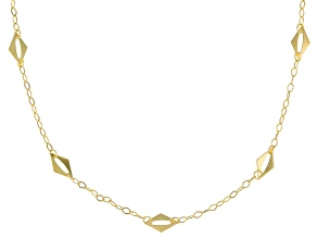 10K Yellow Gold Diamond Shape Station Necklace