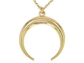 14K Yellow Gold Diamond-Cut Crescent Horn Necklace