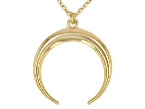 14K Yellow Gold Diamond-Cut Crescent Horn Necklace