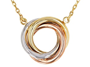 14K Yellow Gold, 14K White Gold, and 14K Rose Gold Over 14K Yellow Gold Love Knot Necklace