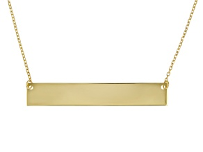 10K Yellow Gold Diamond-Cut Engravable Bar Necklace