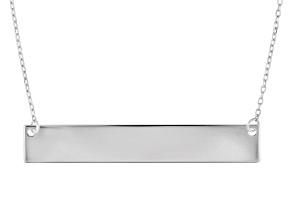 10K White Gold Diamond-Cut Engravable Bar Necklace