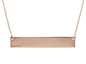 10K Rose Gold Diamond-Cut Engravable Bar Necklace