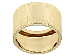 10k Yellow Gold Hollow Diamond Cut Cigar Band Ring