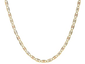 14K Yellow Gold and 14K White Gold, 14K Rose Gold Over 14K Yellow Gold Valentino Chain