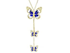 10K Yellow Gold Butterfly Enamel Necklace