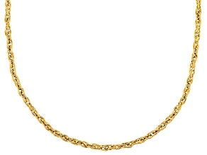 10k Yellow Gold Hollow Rope Chain Necklace 18 inch