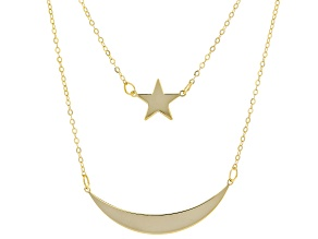 10K Yellow Gold Multi-Row Moon and Star Necklace