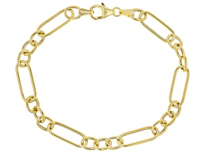 10K Yellow Gold 6.5MM Figaro Link Bracelet