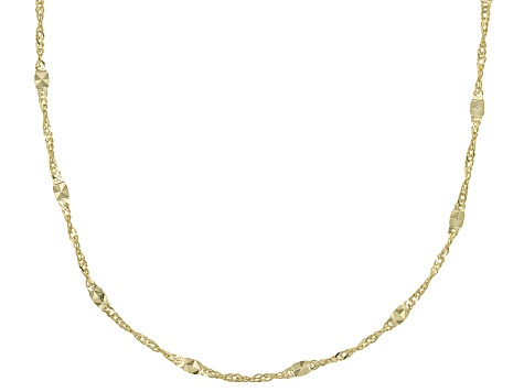 10k Yellow Gold Hollow Mirror Station Chain Necklace 18 inch 1.8mm
