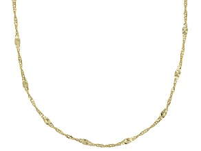 10k Yellow Gold Hollow Mirror Station Chain Necklace 20 inch 1.8mm